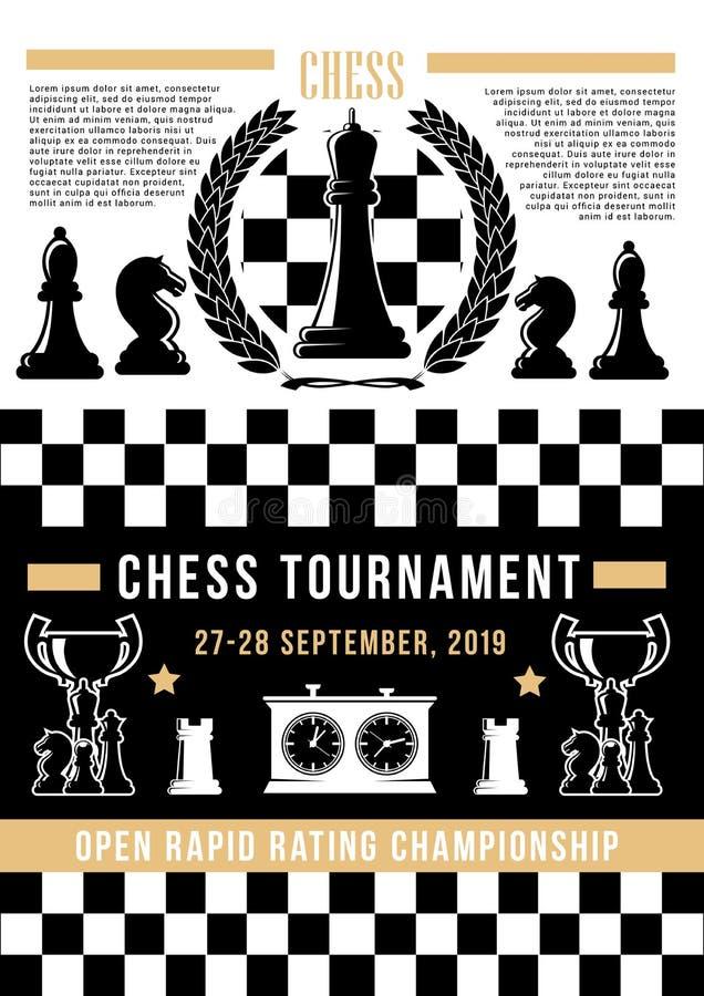 Échiquier avec des pices d'échecs Tournoi de jeu de société illustration de vecteur