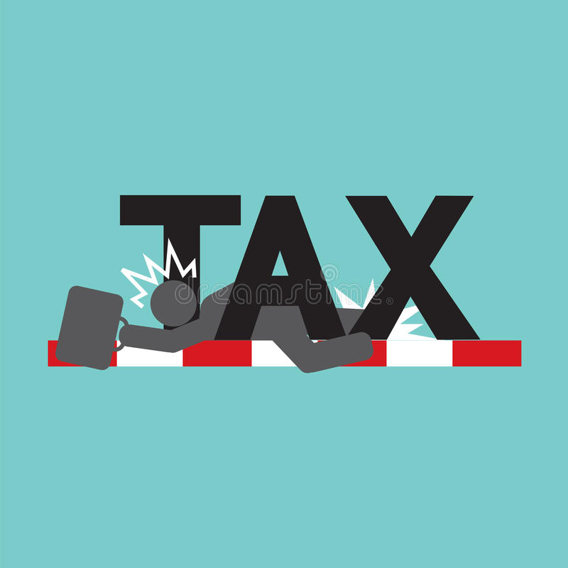 Échouer dans l'impôt, symbole de noir de concept de problème d'impôts illustration stock