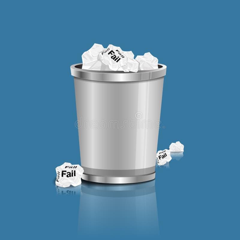 Échouer - le papier chiffonné peut réutiliser a été jeté pour metal la poubelle de panier illustration libre de droits