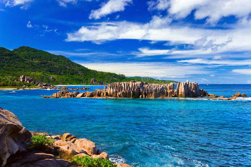 Échouez Anse grand à la La Digue, Seychelles d'île photo stock