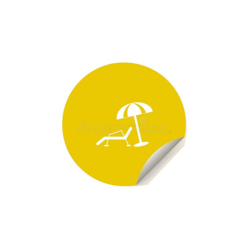 échouez l'icône de chaise longue et de parapluie dans le style d'autocollant Un de l'icône de collection de plaisir d'été peut êt illustration stock
