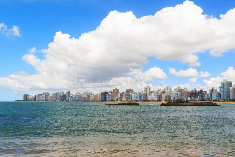 Échouez la côte du DA de Praia, Vila Velha, Espirito Sando, Brésil photos stock