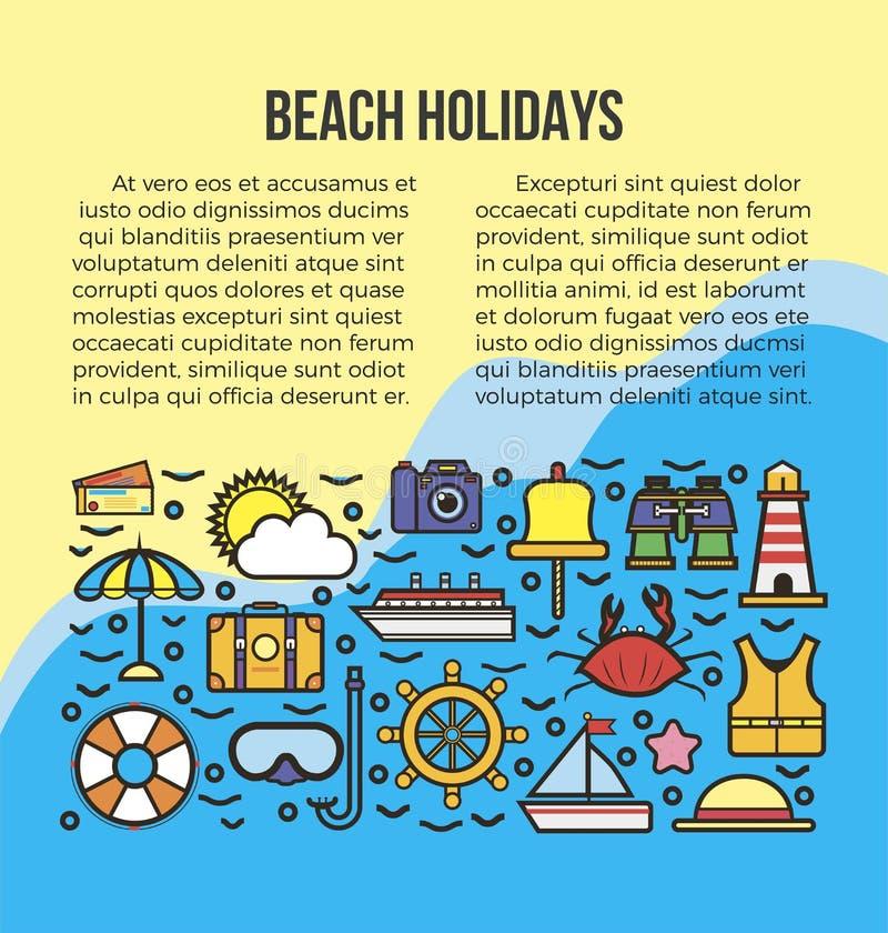 Échouez les vacances d'été ou le calibre d'affiche de vecteur de voyage de croisière de mer illustration de vecteur