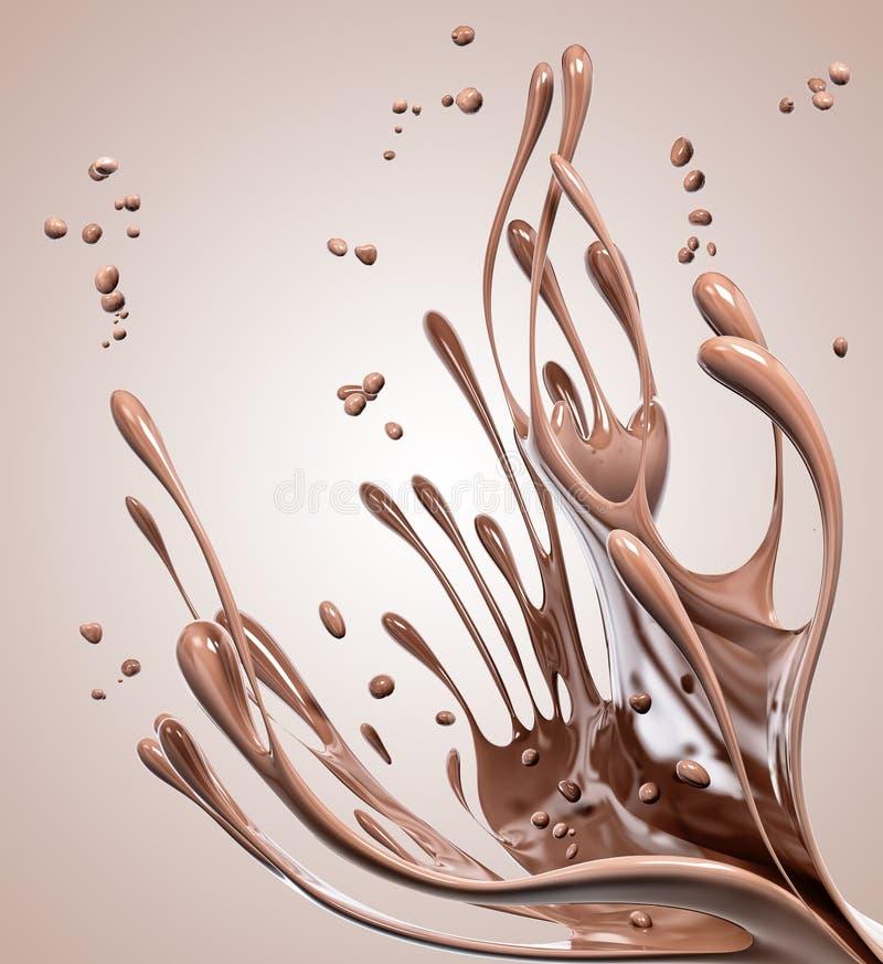 Éclaboussant le fond abstrait de chocolat, rendu 3d illustration libre de droits