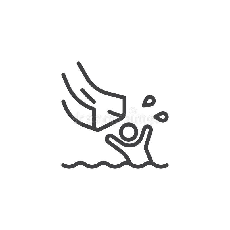 Éclaboussement dans la ligne icône de piscine illustration libre de droits