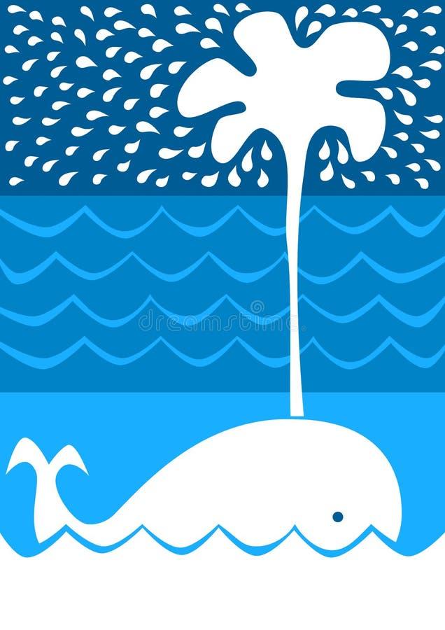 Éclaboussement de la carte d'invitation de baleine illustration de vecteur