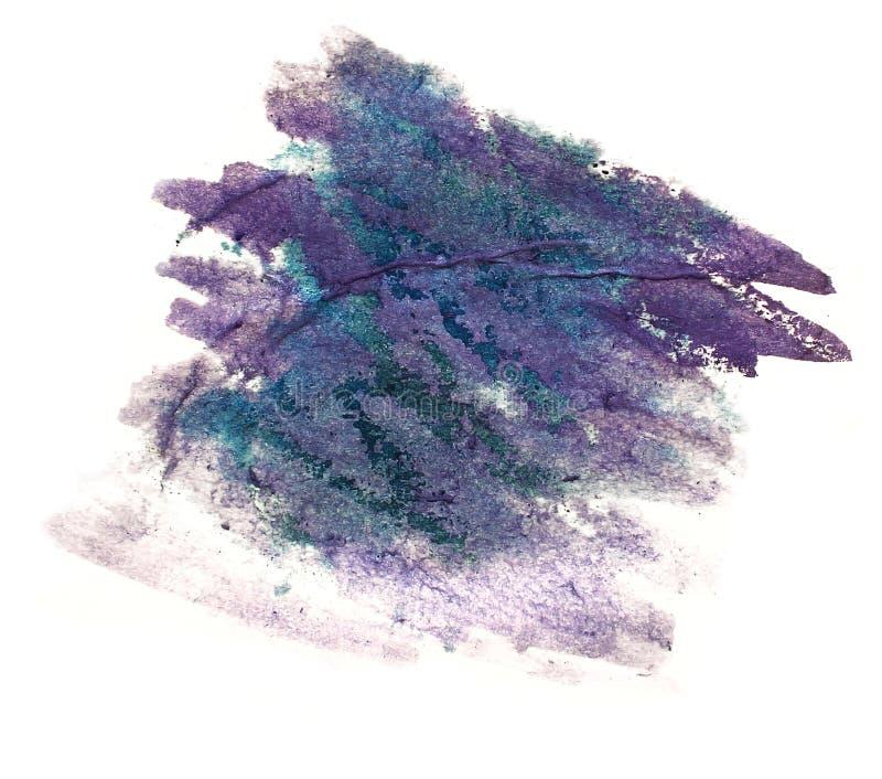 Éclaboussez l'isolant pour aquarelle d'encre de l'eau de couleur de tache pourpre et verte de peinture illustration stock