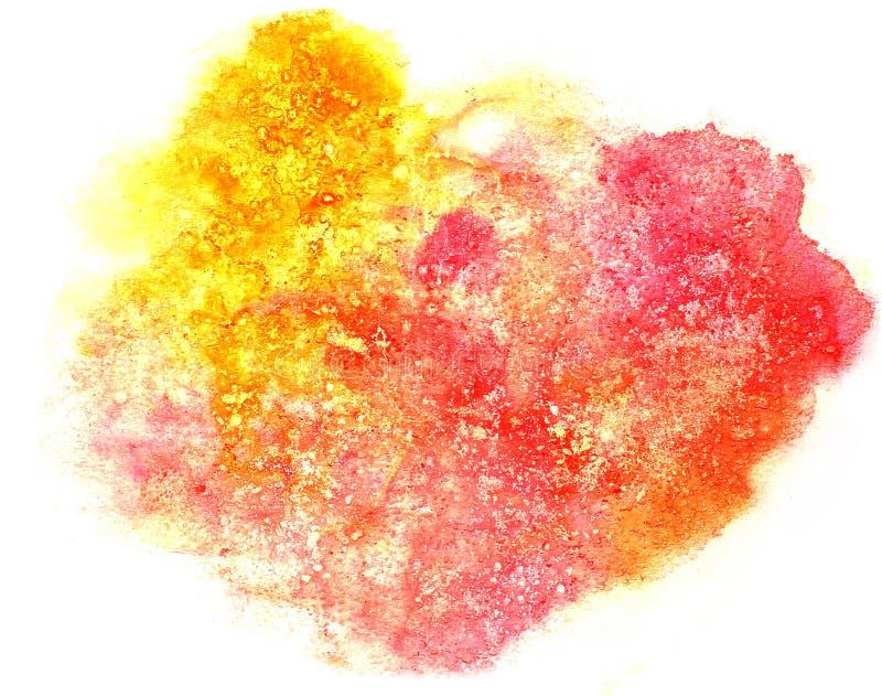 Éclaboussez l'isolat pour aquarelle d'encre de l'eau de couleur de tache rouge et jaune de peinture illustration libre de droits