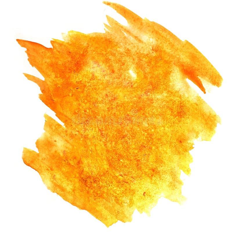 Éclaboussez le wa d'isolement par encre pour aquarelle de l'eau de couleur de tache de jaune de peinture illustration libre de droits