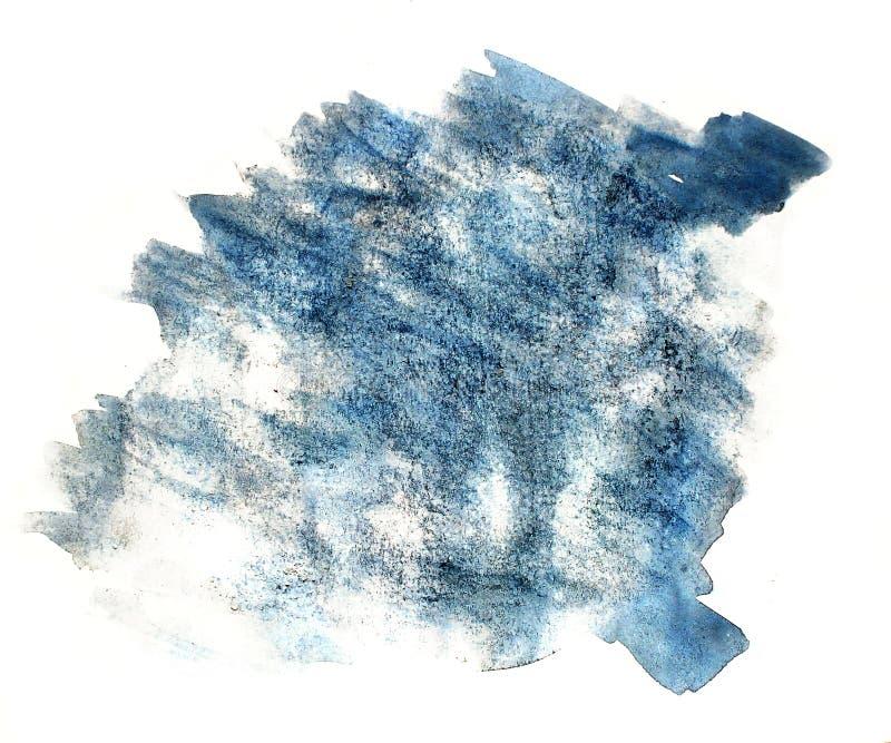 Éclaboussez le wate d'isolement par encre pour aquarelle bleue de l'eau de couleur de tache de peinture illustration libre de droits