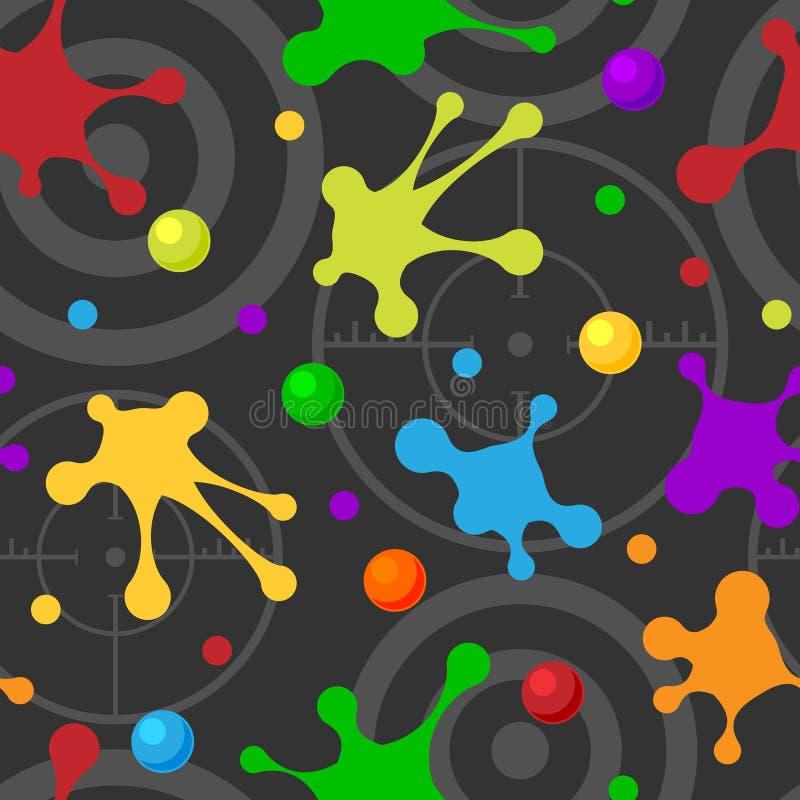 Éclaboussez les taches tirées par la main colorées foncées d'art de tache de texture de jet de modèle sans couture et le fond gru illustration stock