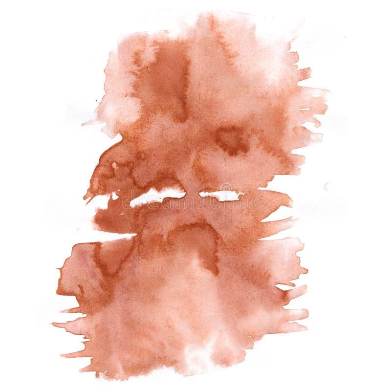 Éclaboussure abstraite d'aquarelle l'aquarelle brune de baisse a isolé la tache pour votre art de conception illustration stock