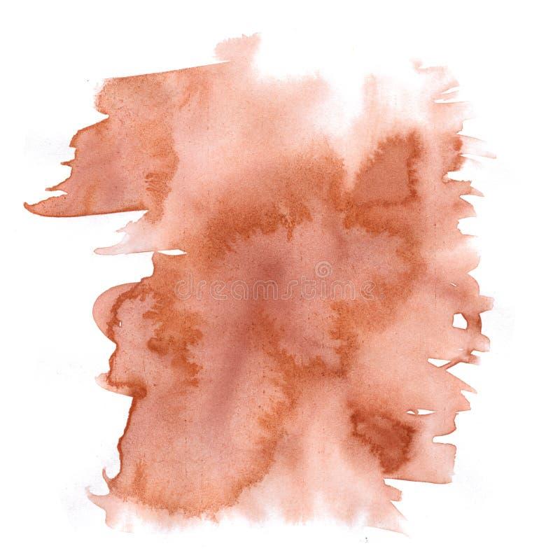 Éclaboussure abstraite d'aquarelle la baisse d'aquarelle a isolé la tache brune pour votre art de conception illustration stock