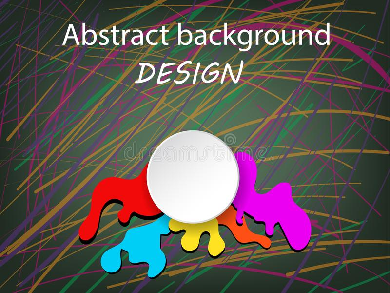 Éclaboussure blanche de cercle et de couleur avec la ligne de peinture créative de main d'art fond de résumé vecteur d'illustrati illustration de vecteur