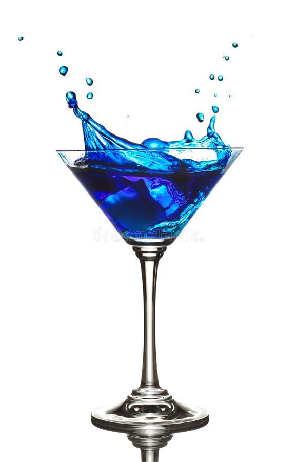 Éclaboussure bleue de cocktail du Curaçao photos libres de droits