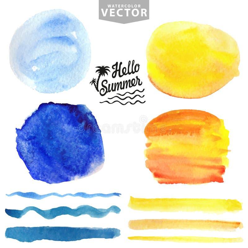 Éclaboussure d'aquarelle, brosses Bleu, jaune Vacances d'été illustration libre de droits