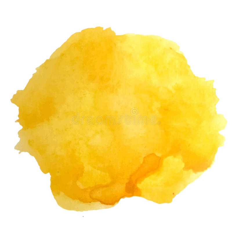 Éclaboussure d'aquarelle de vecteur Fond ensoleillé jaune abstrait de tache illustration de vecteur