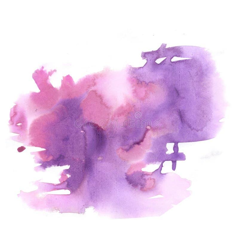 Éclaboussure d'aquarelle la baisse abstraite brune pourpre d'aquarelle a isolé la tache pour votre art de conception illustration stock