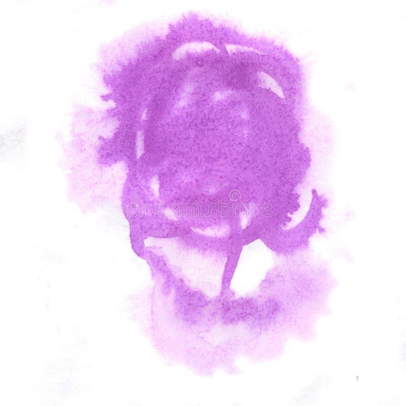 Éclaboussure d'aquarelle la baisse pourpre d'abrégé sur aquarelle a isolé la tache pour votre art de conception illustration de vecteur