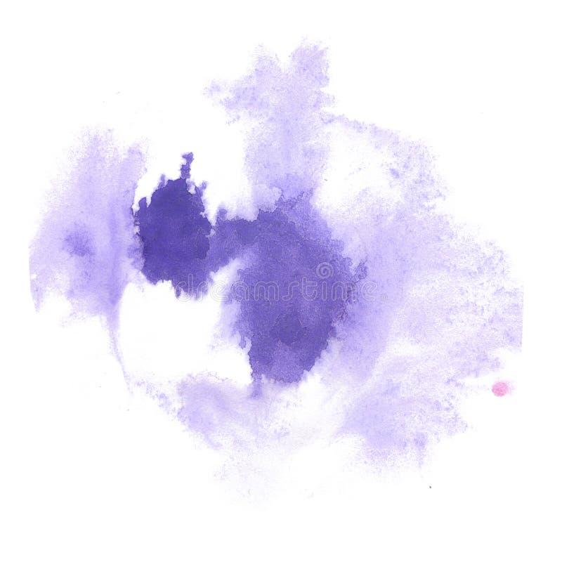 Éclaboussure d'aquarelle la baisse pourpre d'abrégé sur aquarelle a isolé la tache pour votre art de conception illustration libre de droits