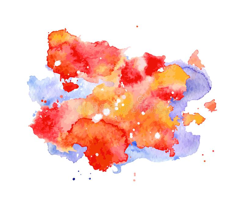 Éclaboussure d'aquarelle, tache, point rouge et bleu et rayure d'isolement sur le fond blanc illustration de vecteur