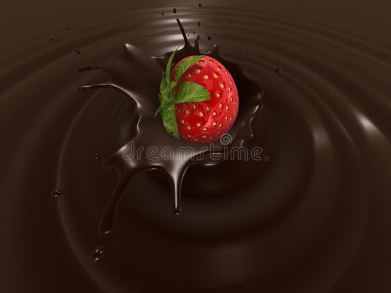Éclaboussure de choco de fraise illustration de vecteur