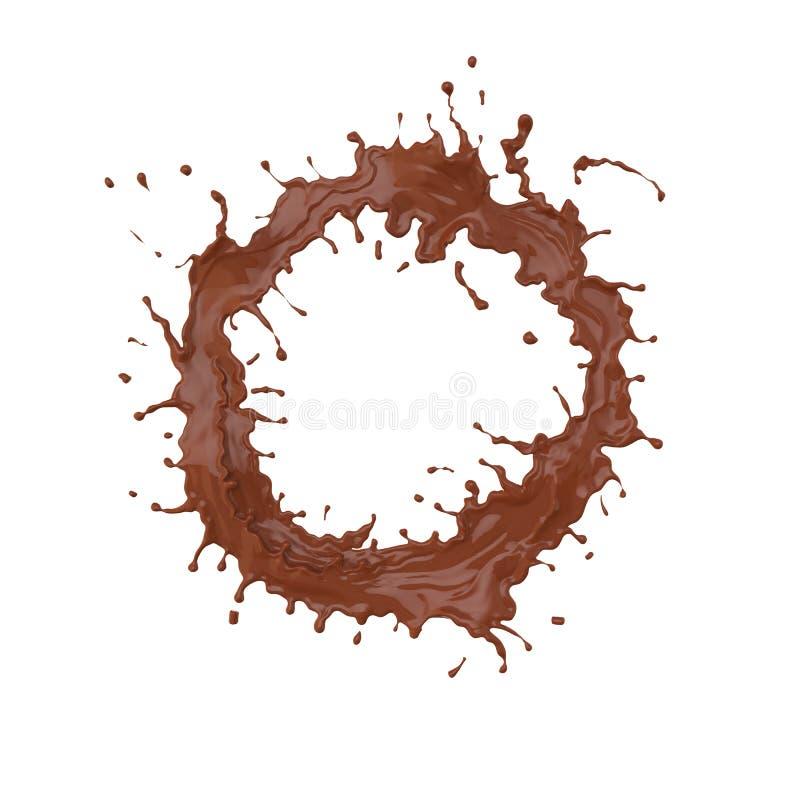 Éclaboussure de chocolat dans la forme de cercle d'isolement sur le fond blanc, c illustration libre de droits