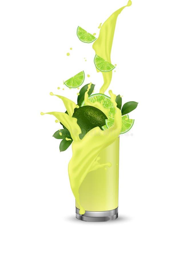 Éclaboussure de citron, jus de limette 3d vecteur réaliste ENV 10 Packagi illustration stock