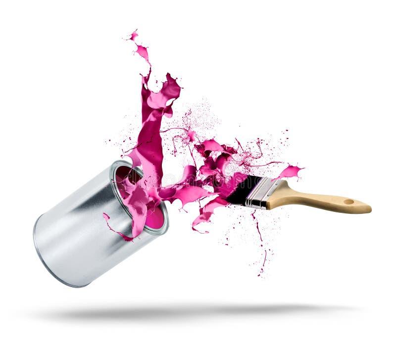 Éclaboussure de couleur de chutes de boîte de peinture images stock