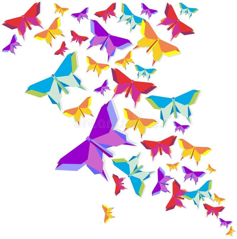 Éclaboussure de couleur de papillon d'origami illustration stock