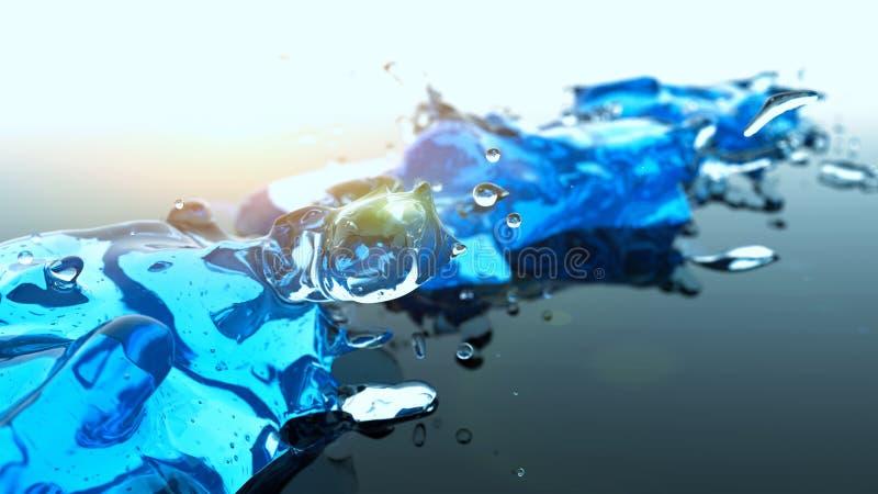 Éclaboussure de l'eau bleue avec le fond clair d'abrégé sur fusée photo stock