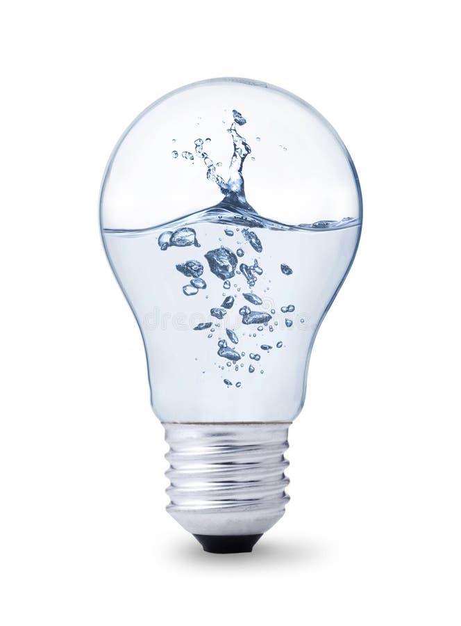 Éclaboussure de l'eau dans l'ampoule photographie stock libre de droits