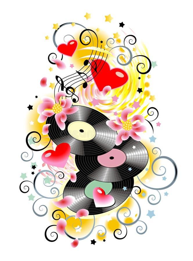 Éclaboussure de musique avec des enregistrements de vinyle illustration libre de droits