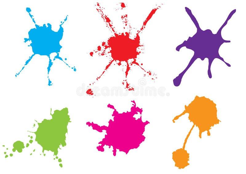 Éclaboussure de peinture de couleur de vecteur Peignez l'ensemble d'éclaboussure Illustrat de vecteur illustration de vecteur