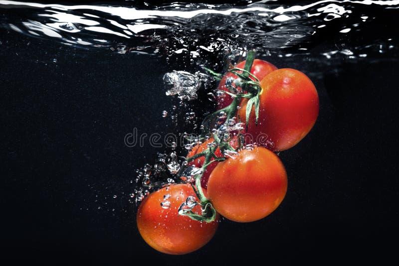 Éclaboussure de tomate de photographie à grande vitesse dans l'eau images libres de droits