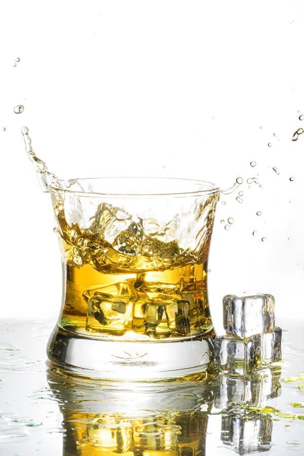 Éclaboussure de whiskey d'isolement sur un fond blanc images libres de droits