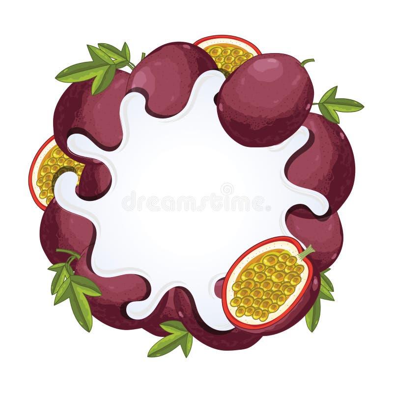 Éclaboussure de yaourt d'isolement avec la passiflore comestible de passiflore, vecteur illustration de vecteur