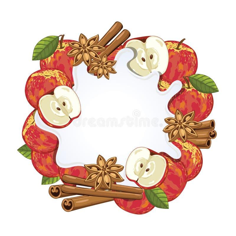 Éclaboussure de yaourt d'isolement sur la pomme et la cannelle illustration libre de droits