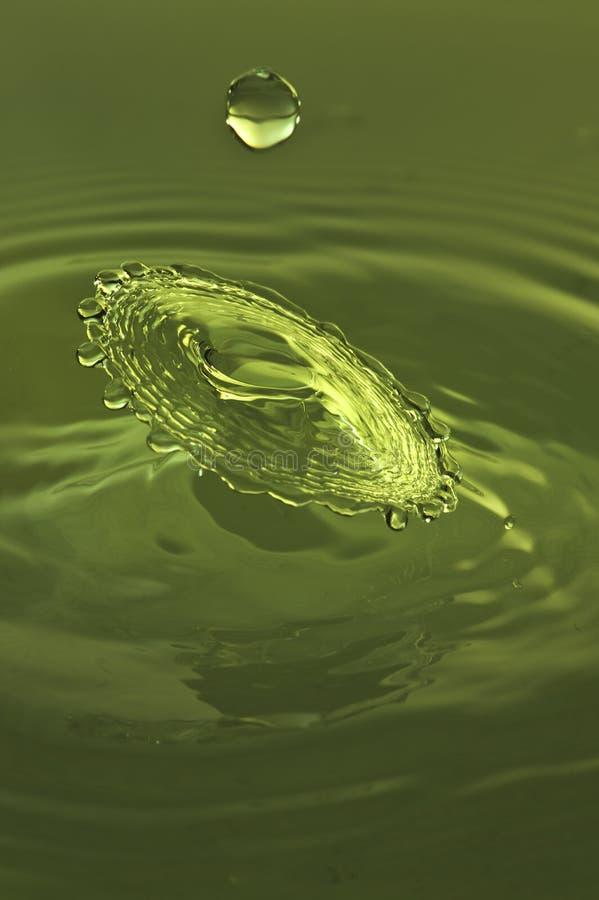 Éclaboussure des baisses vertes de l'eau images stock