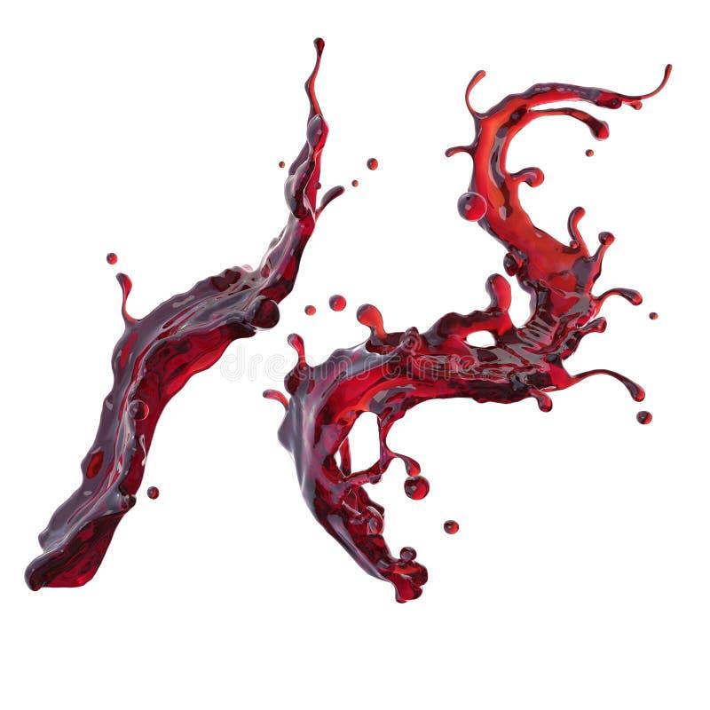 Éclaboussure dynamique de boissons de jus de vin rouge ou de cerise illustration libre de droits
