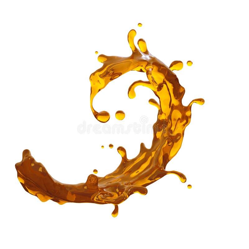 Éclaboussure dynamique de boissons de thé, de jus ou d'alcool illustration de vecteur