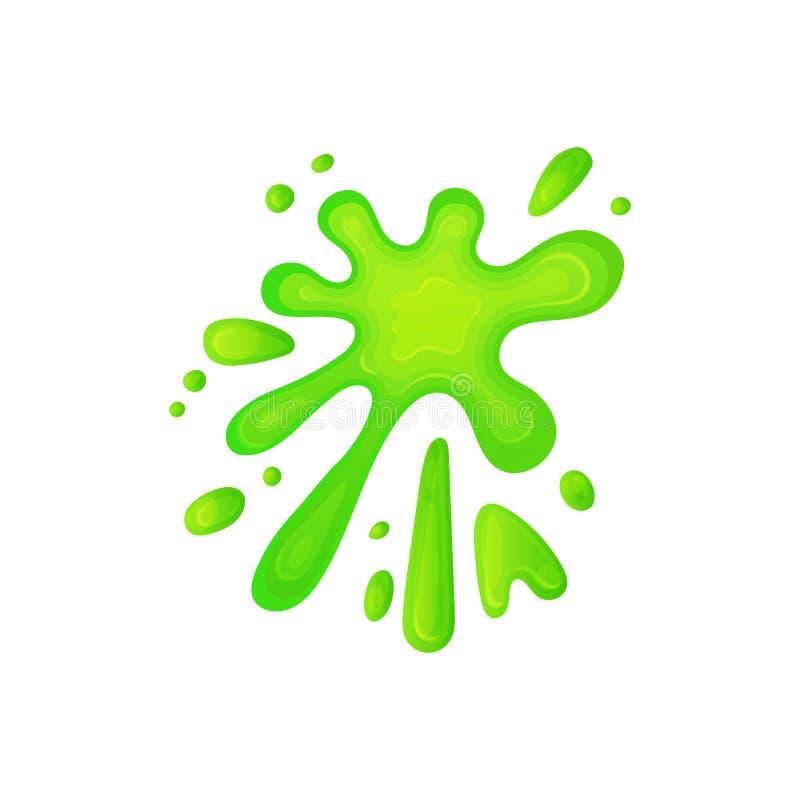 Éclaboussure dynamique du liquide vert de boue, forme abstraite de floc de substance gluante de couleur acide illustration stock