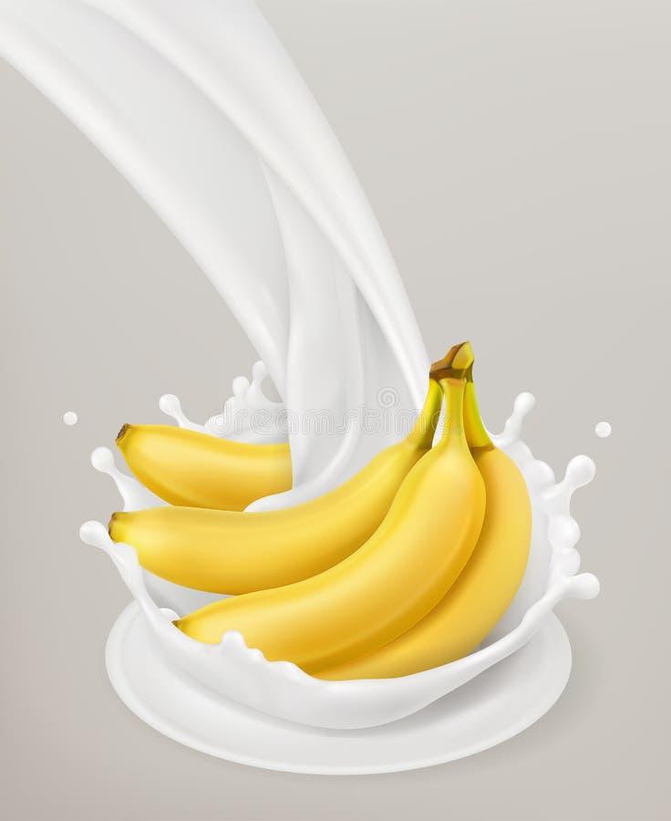 Éclaboussure et banane de lait objet du vecteur 3d illustration de vecteur