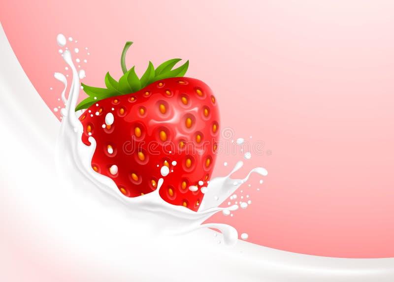 Éclaboussure et fraise de lait illustration stock
