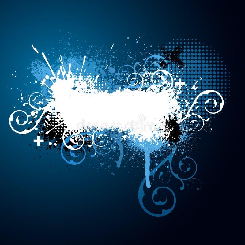 éclaboussure florale bleue de peinture illustration libre de droits