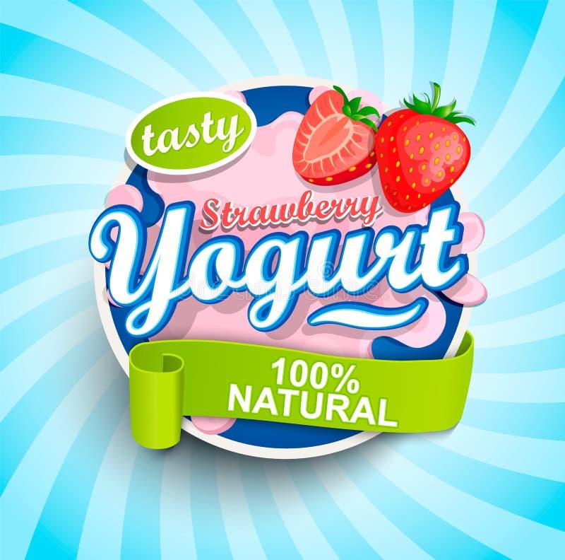 Éclaboussure fraîche et naturelle de label de yaourt de fraise illustration libre de droits