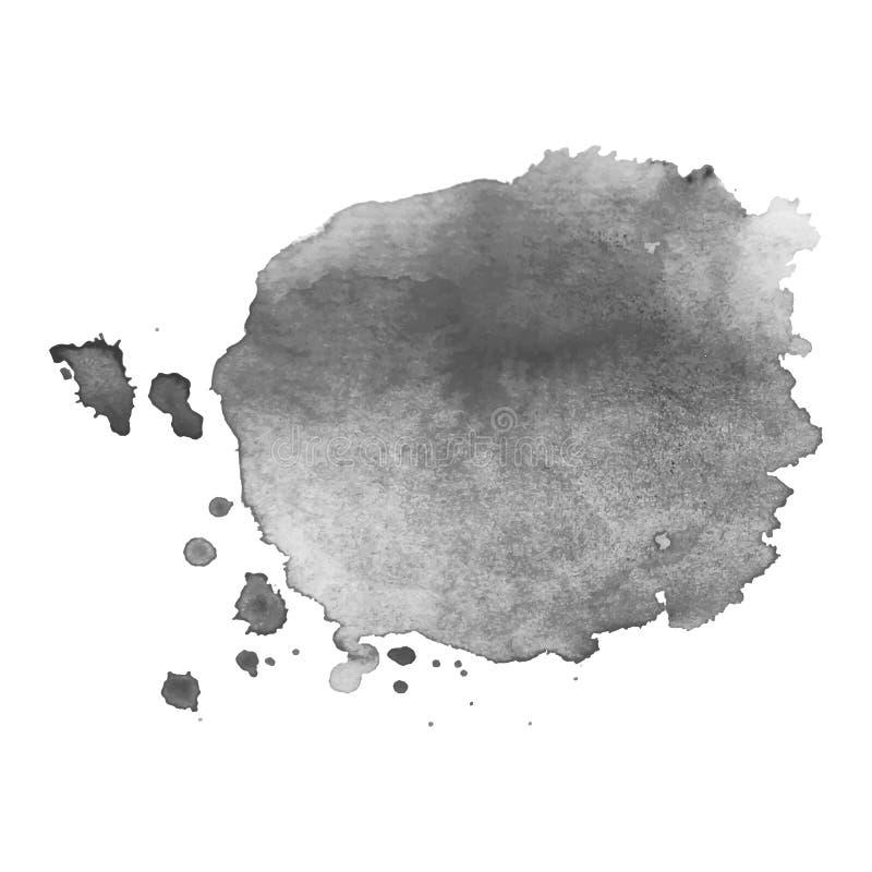 Éclaboussure grise d'aquarelle de vecteur d'isolement par résumé ?l?ment grunge pour la conception de papier images stock