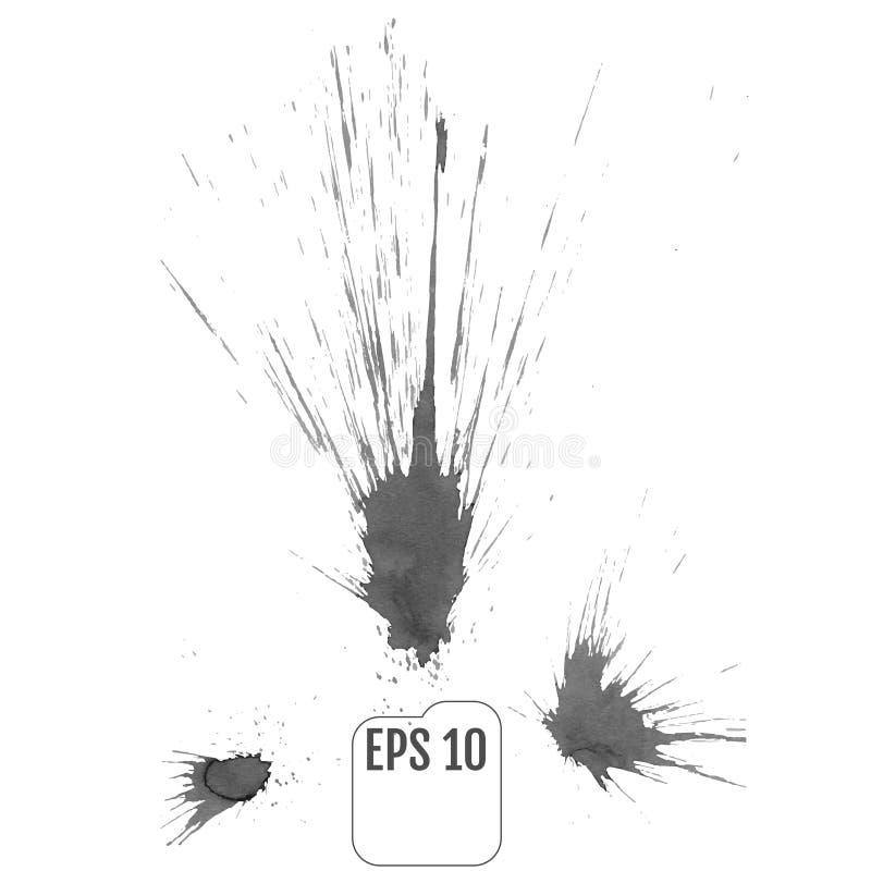 Éclaboussure grise d'encre de peinture, d'isolement sur le fond blanc Vecteur Spla illustration libre de droits