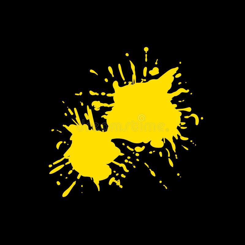 Éclaboussure jaune de peinture de vecteur d'isolement sur le fond noir, éclaboussure vide, élément de conception illustration libre de droits