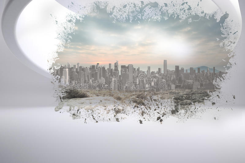 Éclaboussure montrant le paysage urbain illustration stock